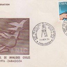 Sellos: INVALIDOS CIVILES ASOCIACION NACIONAL EXPOSICION, ZARAGOZA 1976. MATASELLOS EN RARO SOBRE ILUSTRADO.. Lote 96101815