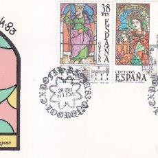 Sellos: VIDRIERAS ARTISTICAS EXPOFIL RIOJA 83, LOGROÑO 1983. MATASELLOS EN SOBRE ILUSTRADO BONITO FRANQUEO.. Lote 96103143