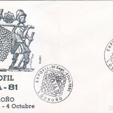 Sellos: VINO VENDIMIA RIOJA 81 EXPOFIL, LOGROÑO 1981. RARO MATASELLOS EN SOBRE DE FLASH.. Lote 96104427