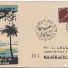 Sellos: SOBRE I VUELO LAS PALMAS BRUSELAS A.Y.C AVIACO SABENA 1960 BRUXELLES. Lote 96767347