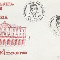 Sellos: AÑO 1980, SIMON MARGOLARIA, EXPOSICION EN VERGARA (GUIPUZCOA), SOBRE DE FLASH. Lote 97602063