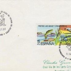 Sellos: AÑO 1980, CAMPEONATO NACIONAL DE PESCA DEL TIBURON DE ATLANTICO, MATASELLO DE VIGO. Lote 97602775