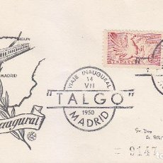 Sellos: TRENES FERROCARRIL TALGO VIAJE INAUGURAL, MADRID 1950. RARO MATASELLOS EN SOBRE CIRCULADO DE QUERALT. Lote 43813450