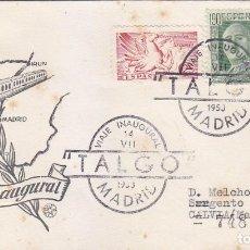 Sellos: TRENES FERROCARRIL TALGO VIAJE INAUGURAL, MADRID 1950. RARO MATASELLOS EN SOBRE CIRCULADO DE QUERALT. Lote 97809843