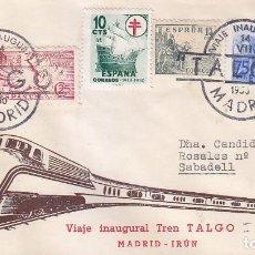 Sellos: TRENES FERROCARRIL TALGO VIAJE INAUGURAL, MADRID 1950. RARO MATASELLOS EN SOBRE CIRCULADO DE ORTIN.. Lote 97809963
