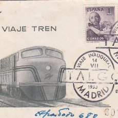 Sellos: TRENES FERROCARRIL TALGO VIAJE INAUGURAL, MADRID 1950. RARO MATASELLOS EN SOBRE CIRCULADO A LISBOA.. Lote 97810015