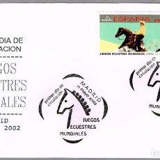 Sellos: MATASELLOS PRIMER DIA - JUEGOS ECUESTRES MUNDIALES. MADRID 2002. Lote 98061267