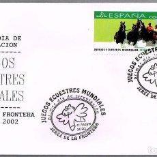 Sellos: MATASELLOS PRIMER DIA - JUEGOS ECUESTRES MUNDIALES. JEREZ DE LA FRONTERA, CADIZ, 2002. Lote 98061339