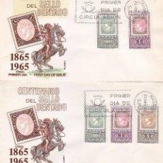 Sellos: RARA VARIEDAD CENTENARIO DEL PRIMER SELLO DENTADO 1965 (EDIFIL 1689/90) EN SOBRE PRIMER DIA DE FLASH. Lote 98500151