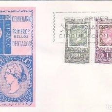 Sellos: CENTENARIO DEL PRIMER SELLO DENTADO 1965 (EDIFIL 1689/91) EN SOBRE PRIMER DIA SERVICIO FILATELICO.. Lote 98501603