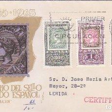 Sellos: CENTENARIO DEL PRIMER SELLO DENTADO 1965 (EDIFIL 1689/91) EN SOBRE PRIMER DIA CIRCULADO DE MS. RARO.. Lote 98501711