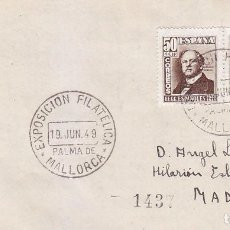 Sellos: EXPOSICION FILATELICA, PALMA DE MALLORCA (BALEARES) 19 JUNIO 1949. MATASELLOS EN SOBRE CIRCULADO.. Lote 98506039