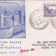 Sellos: EXPOSICION FILATELICA, PALMA DE MALLORCA (BALEARES) 12 JUNIO 1949. MATASELLOS SOBRE CASTILLO BELLVER. Lote 98506151