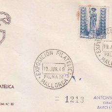 Sellos: EXPOSICION FILATELICA, PALMA DE MALLORCA (BALEARES) 19 JUNIO 1949 MATASELLOS SOBRE CIRCULADO QUERALT. Lote 98506471