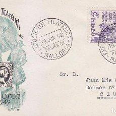 Sellos: EXPOSICION FILATELICA, PALMA DE MALLORCA (BALEARES) 19 JUNIO 1949. MATASELLOS EN SOBRE DE EG. EL CID. Lote 98507231