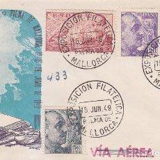 Sellos: EXPOSICION FILATELICA, PALMA DE MALLORCA (BALEARES) 15 JUNIO 1949. MATASELLOS EN SOBRE CIRCULADO DP.. Lote 98507395