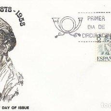 Sellos: EDIFIL 2457, CENTENARIO DE JOSEP CLARA (ESCULTOR), PRIMER DIA DE 28-2-1978 SOBRE DE ALFIL. Lote 98867267