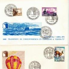 Sellos: 2 SOBRES -TRANSPORTE DE CORRESPONDENCIA A LA EXPOSICION MUNDIAL DE FILATELIA ESPAÑA 75. Lote 99318319