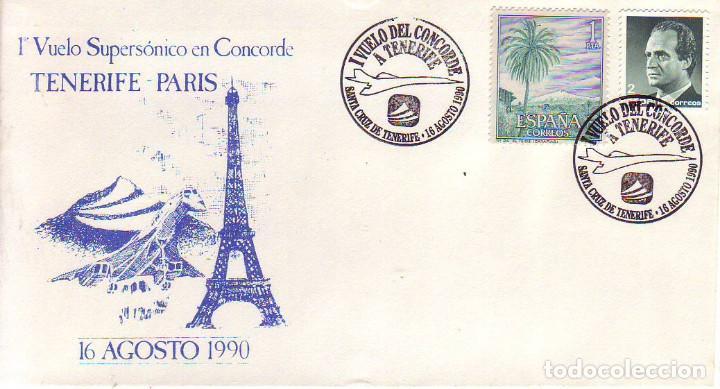VUELO CONCORDE TENERIFE PARIS 1990 (Sellos - Historia Postal - Sello Español - Sobres Primer Día y Matasellos Especiales)