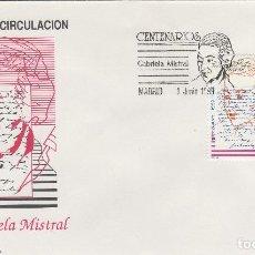 Sellos: ED Nº 3013 AÑO 1989 -GABRIELA MISTRAL - SOBRE PRIMER DÍA S.F.C. . Lote 99743007