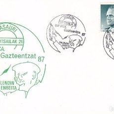 Sellos: GAZTEENTZAT EXPOSICION FILATELICA, BASAURI (VIZCAYA) 1987. RARO MATASELLOS EN TARJETA ILUSTRADA.. Lote 99995563