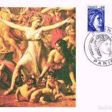 Sellos: FRANCIA IVERT Nº 1963 Y 75, LA SABINA SEGÚN UNA PINTURA DE LOUIS DAVID, TARJETA MÁXIMA DE 31-3-1978. Lote 100646171