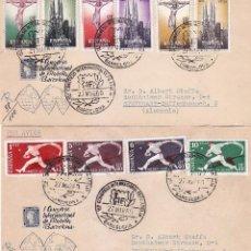 Sellos: I CONGRESO INTERNACIONAL DE FILATELIA BARCELONA 1960 (EDIFIL 1280/89) EN TRES SPD CIRCULADOS. RAROS.. Lote 101066147