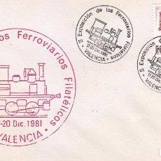 Sellos: TRENES FERROVIARIOS FILATELICOS II EXPOSICION, VALENCIA 1981. MATASELLOS FERROCARRIL SOBRE ILUSTRADO. Lote 101138191