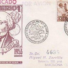 Sellos: CENTENARIO DOCTOR MATEO ORFILA, MAHON (BALEARES) 1953. MATASELLOS EN SOBRE DP SAN FRANCISCO JAVIER.. Lote 101232667