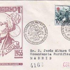 Sellos: CENTENARIO DOCTOR MATEO ORFILA, MAHON (BALEARES) 1953. MATASELLOS EN SOBRE CIRCULADO DE DP. RARO ASI. Lote 101232811