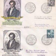Sellos: RARA VARIEDAD CENTENARIO DOCTOR MATEO ORFILA, MAHON (BALEARES) 1953. MATASELLOS EN SOBRE DE ALFIL.. Lote 101233039