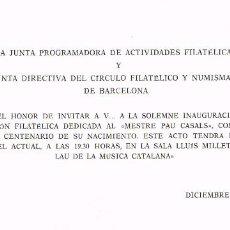 Sellos: AÑO 1976, CENTENARIO DE PAU CASALS (B), EN INVITACION A LA INAUGURACION. Lote 101462039