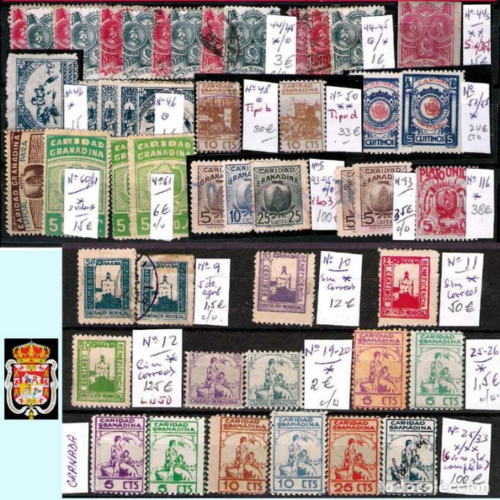 Sellos: GRANADA Y PROV.- H. POSTAL, MATASELLOS, LOCALES Y PATRIOTICOS. P.V. 7.819 €.VER 14 FOTOS.CONDICIONES - Foto 11 - 31678711
