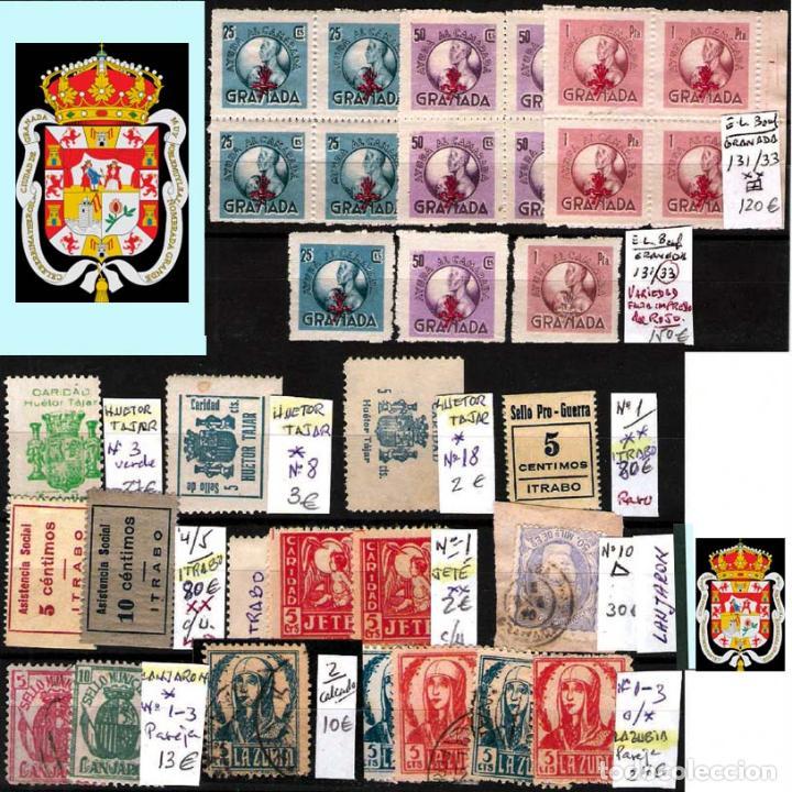 Sellos: GRANADA Y PROV.- H. POSTAL, MATASELLOS, LOCALES Y PATRIOTICOS. P.V. 7.819 €.VER 14 FOTOS.CONDICIONES - Foto 12 - 31678711