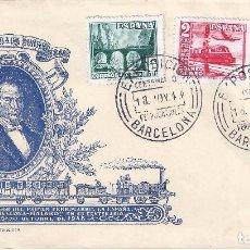 Sellos: EDIFIL 1037 CENTENARIO 1948. SOBRE CONMEMORATIVO DE LOS FERROCARRILES DE BARCELONA.. Lote 101988291