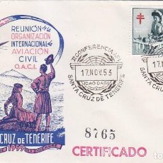 Sellos: AVIACION CIVIL REUNION OACI CONFERENCIA AFI SANTA CRUZ TENERIFE (CANARIAS) 1953. MATASELLOS SOBRE DP. Lote 102062479