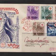 Sellos: ED Nº 1084/7 AÑO 1950 - PRO TUBERCULOSOS - SOBRE SPD PRIMER DÍA CIRCULADO DP, DIFUSIONES PANFILATEL. Lote 102300807