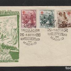 Sellos: ED Nº 1103/05 AÑO 1951 -PRO TUBERCULOSOS - SOBRE SPD/FDC PRIMER DÍA S.F.C. . Lote 102318627