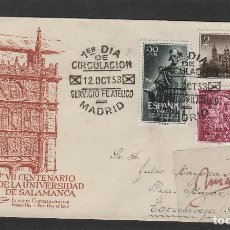 Sellos: Nº ED 1126/8 AÑO 1953 - VII CENT. UNIVERSIDAD SALAMANCA - SOBRE CIRCULADO PRIMER DÍA DE ALFIL . Lote 102339631