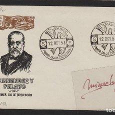 Sellos: Nº ED 1142 AÑO 1954 -MENÉNDEZ PELAYO -SOBRE PRIMER DÍA DE SFC -SERVICIO FILATÉLICO. Lote 102364991