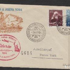 Sellos: PRIMER VUELO DIRECTO POR IBERIA MADRID A NUEVA YORK 1954 MARCA AEREA SOBRE CON 1119/20 RAMÓN Y CAJAL. Lote 102435323