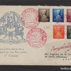 Sellos: Nº ED 1092/96 AÑO 1951-V CENTENARIO ISABEL LA CATÓLICA MATASELLOS AREVÁLO-ÁVILA SOBRE ¡¡ RARÍSIMO¡¡. Lote 102455255