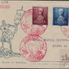Sellos: 1951-V CENTENARIO ISABEL CATÓLICA MATASELLOS SANTA FÉ (GRANADA ) SOBRE CIRCULADO EDITA CLUB ALHAMBRA. Lote 102455579