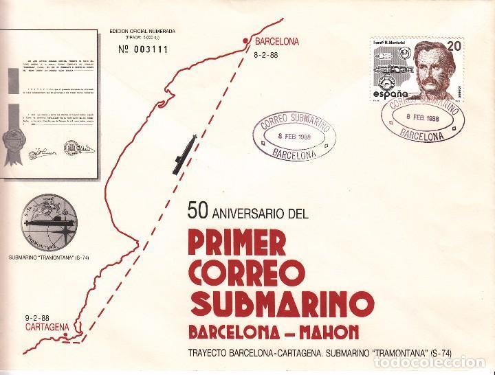 SOBRE: 1988 BARCELONA. 50 ANIV. PRIMER CORREO SUBMARINO - BARCELONA-CARTAGENA (Sellos - Historia Postal - Sello Español - Sobres Primer Día y Matasellos Especiales)