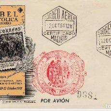 Sellos: MATASELLOS V CENTENARIO ISABEL CORREO AEREO ESPAÑA AMÉRICA -CERTIFICADO 1951--MARCAS A LDORSO--. Lote 105290791