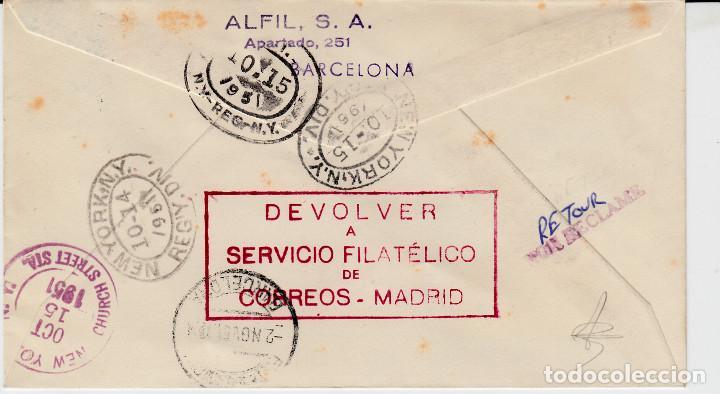 Sellos: MATASELLOS V CENTENARIO ISABEL CORREO AEREO ESPAÑA AMÉRICA -CERTIFICADO 1951--marcas a ldorso-- - Foto 2 - 105290791
