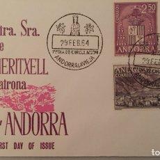 Sellos: SPD NUESTRA SEÑORA DE MERITXELL PATRONA DE ANDORRA. ALFIL 1964. Lote 105765835