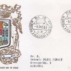 Sellos: ESCUDO DE HUESCA 1963 MATASELLOS MADRID (EDIFIL 1492) EN SOBRE PRIMER DIA CIRCULADO ALFIL. RARO ASI.. Lote 106592559