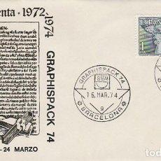 Sellos: AÑO 1974, GRAPHISPACK, SALON DE LAS ARTES GRAFICAS, (B), SOBRE DE ALFIL CENTENARIO IMPRENTA. Lote 107214179