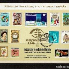 Sellos: TARJETA RECUERDO 1984 EXPOSICION FILATÉLICA MUNDIAL ESPAÑA 84. HERACLIO FOURNIER. MATASELLO 1ER DIA. Lote 228931645